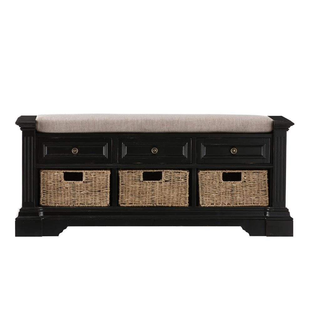 Home decorators collection bufford antique black storage for Home decorators bench