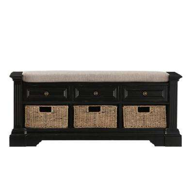Bufford Antique Black Storage Bench