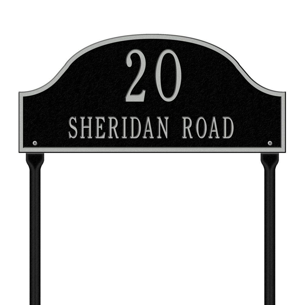 Whitehall Products Admiral Standard Arch Black/Silver Lawn Two Line Address Plaque