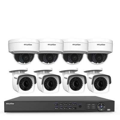 8-Channel 4MP Full HD 4TB IP NVR System (4) 2688x1520p Bullet (4) Dome Cameras 100 ft. NightVision Free Remote Viewing