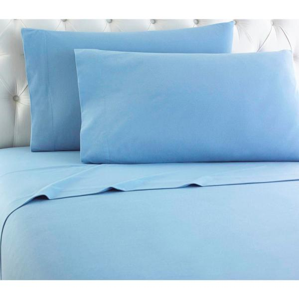 Micro Flannel 4-Piece Wedgewood Solid California King Sheet Set