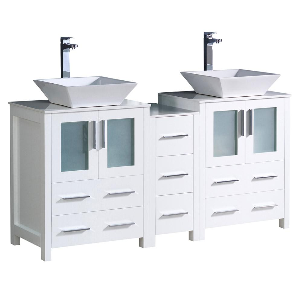 Fresca Torino 60 in. Double Vanity in White with Glass Stone Vanity Top in White with White Basins