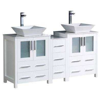 Torino 60 in. Double Vanity in White with Glass Stone Vanity Top in White with White Basins