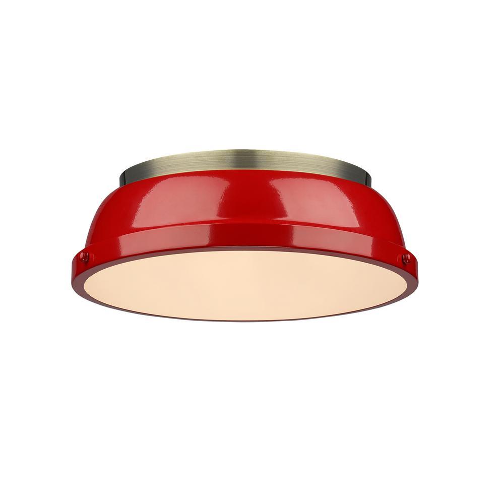 Duncan AB 2-Light Aged Brass Flush Mount Light