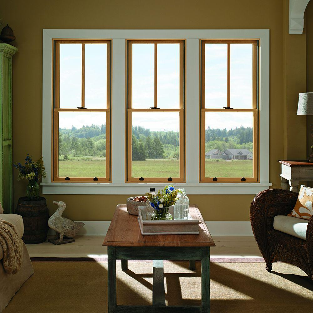 Andersen 29 625 In X 40 875 In 400 Series Double Hung White Interior Wood Windows