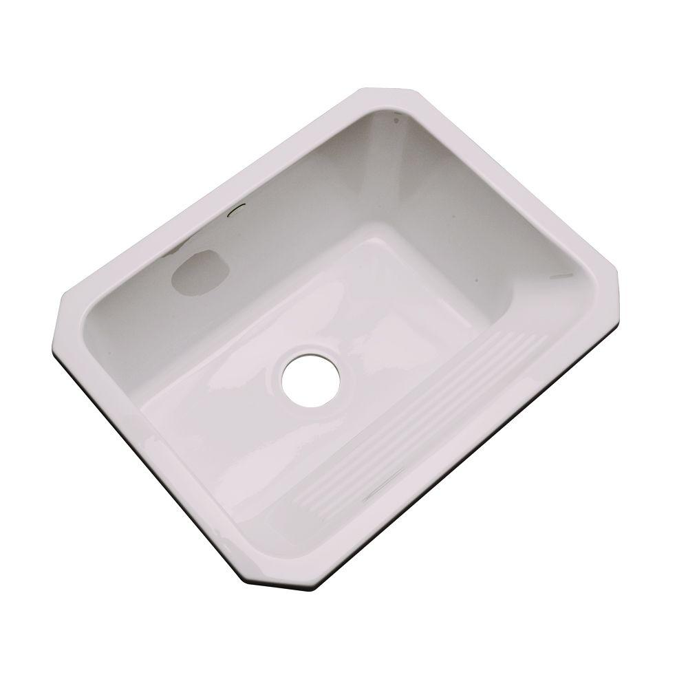 Thermocast Kensington Undermount Acrylic 25 in. Single Bowl Utility Sink in Innocent Blush