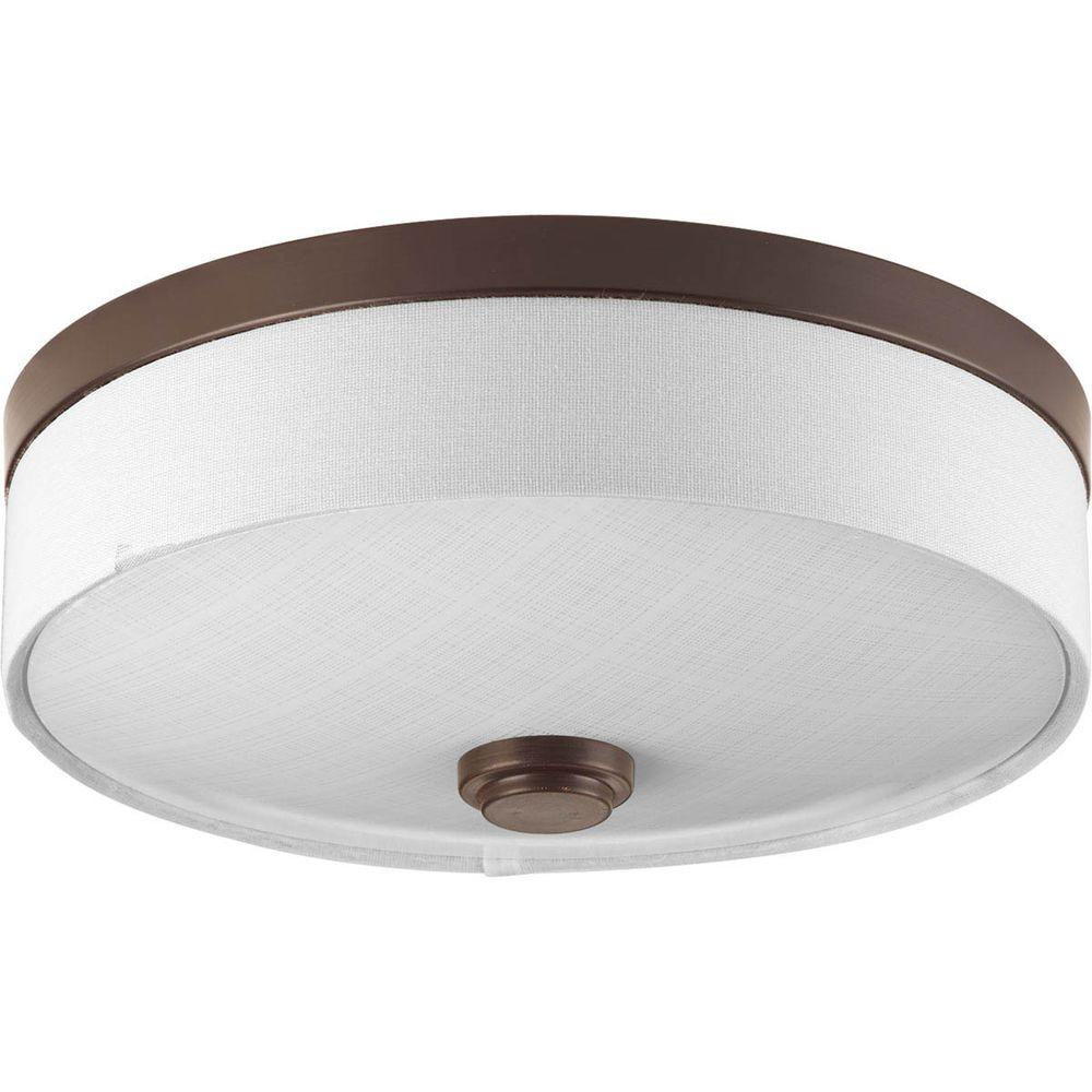 Progress Lighting 10 in. Weaver Collection 1-Light Antique Bronze Integrated LED Flushmount
