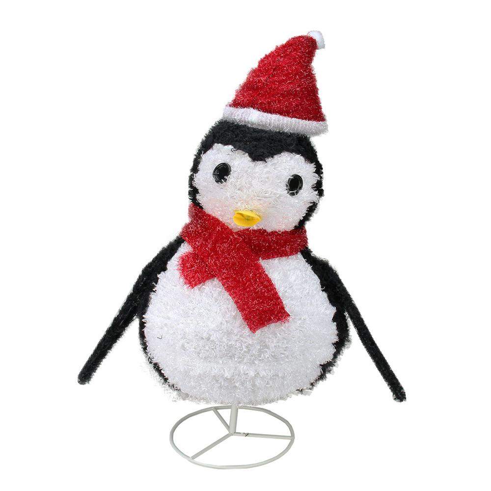 32 in. Christmas Lighted Chenille Penguin Outdoor Decoration