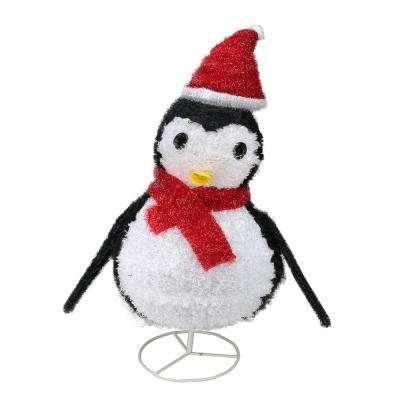 32 in christmas lighted chenille penguin outdoor decoration