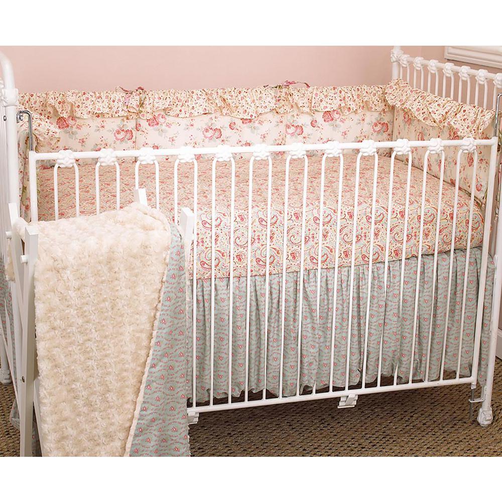 Cotton Tale Designs Tea Party 4 Piece Floral Cotton Blend Crib Bedding Set Tp4s The Home Depot
