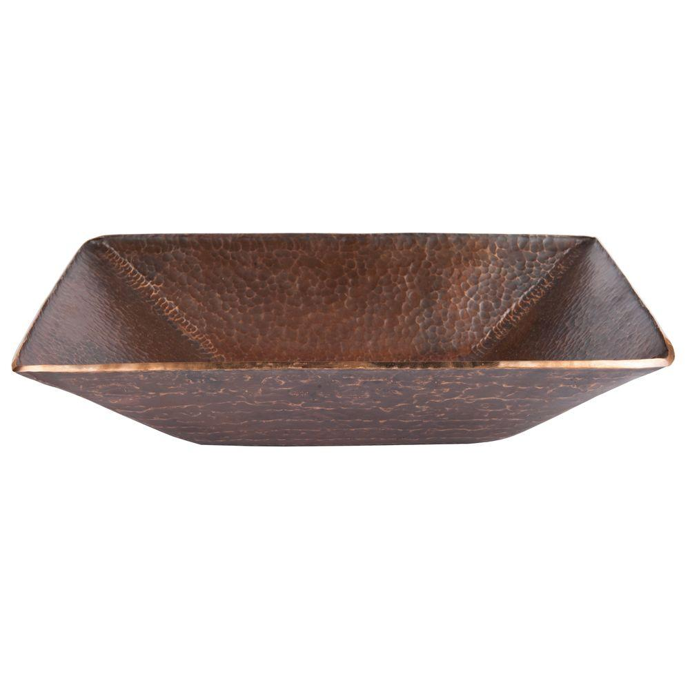 Premier copper products modern rectangle hand forged old for Rectangular copper bathroom sink