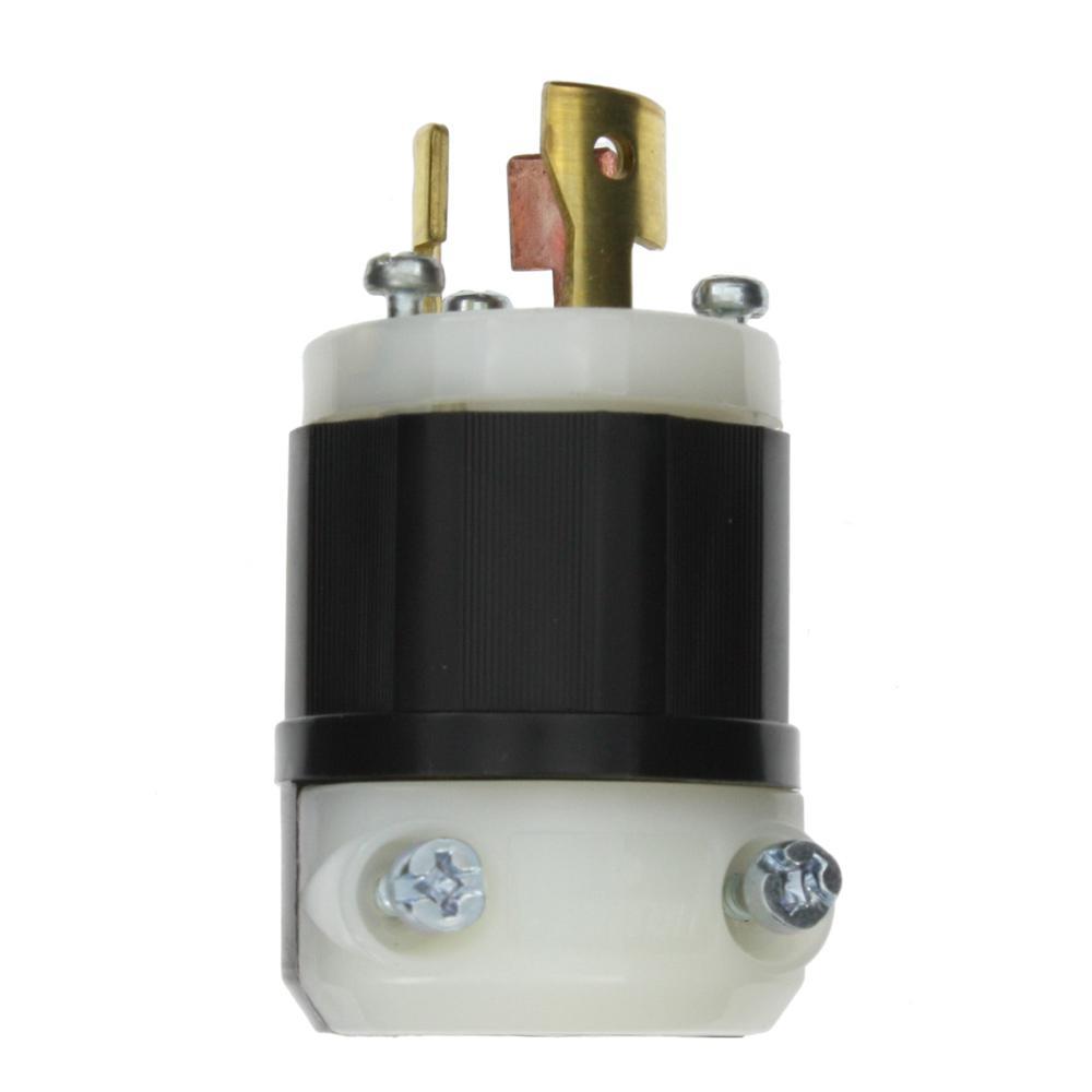 Leviton 50 Amp 250 Volt Straight Blade Grounding Angle Plug Black Wiring 15 10 125 Locking Non