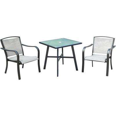Foxhill 3-Piece Commercial Aluminum Outdoor Bistro Set with Sunbrella Sling Dining Chairs and a 30 in. Glass-Top Table