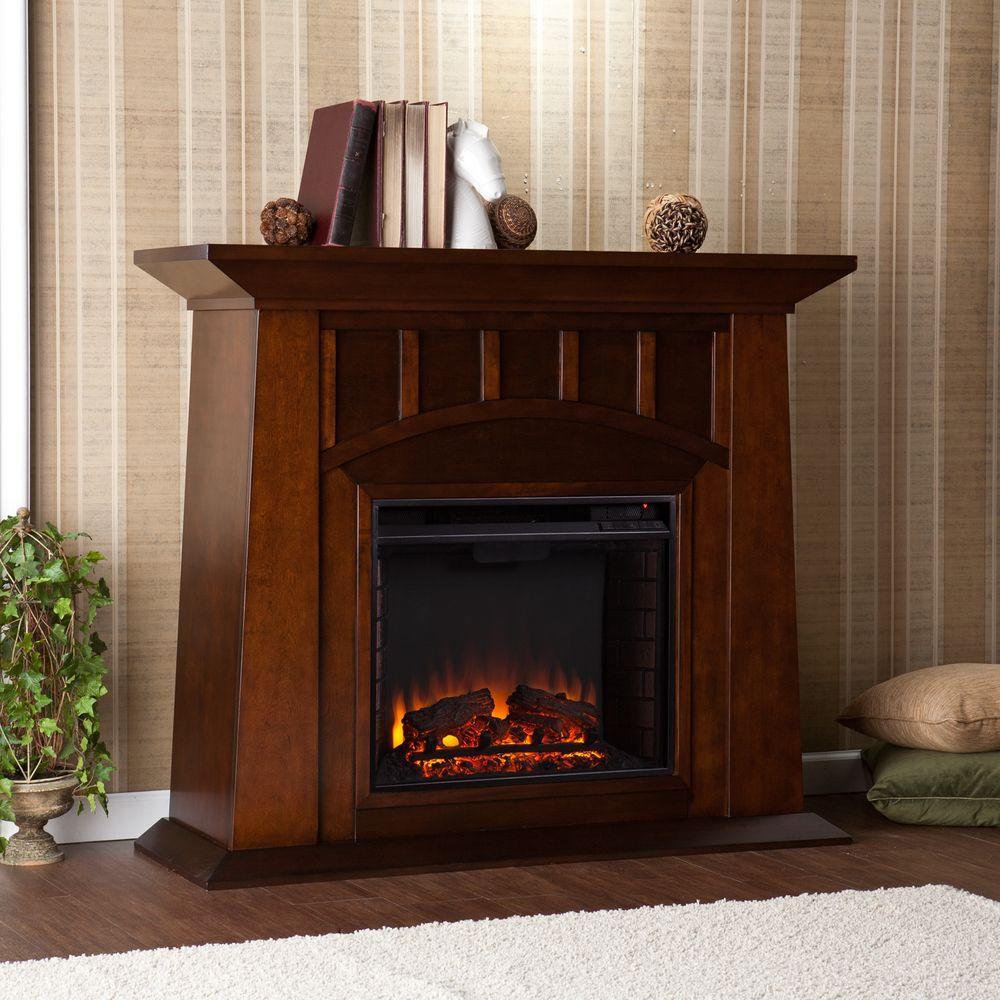 Electric Fireplace Heaters Home Depot: Southern Enterprises Logan 48 In. Freestanding Electric
