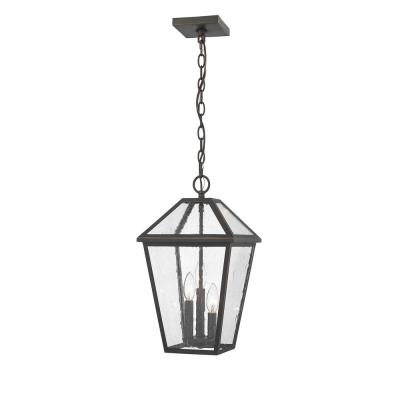 3-Light Rubbed Bronze Outdoor Pendant Light with Seedy Glass Shade