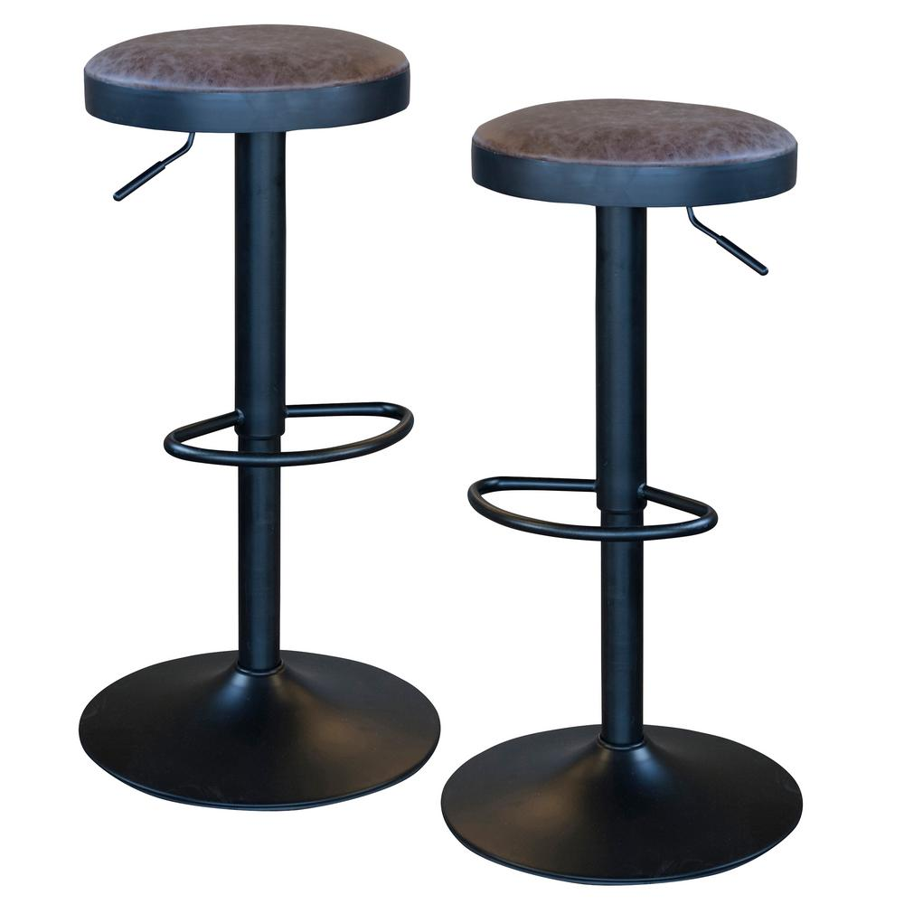 Adjustable Height Faux Leather Swivel Cushioned Bar Stool (Set of 2)