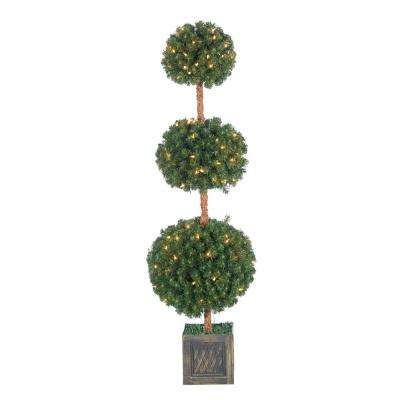 5 ft. Pre-Lit Potted Triple Ball Artificial Christmas Tree with Round Tips