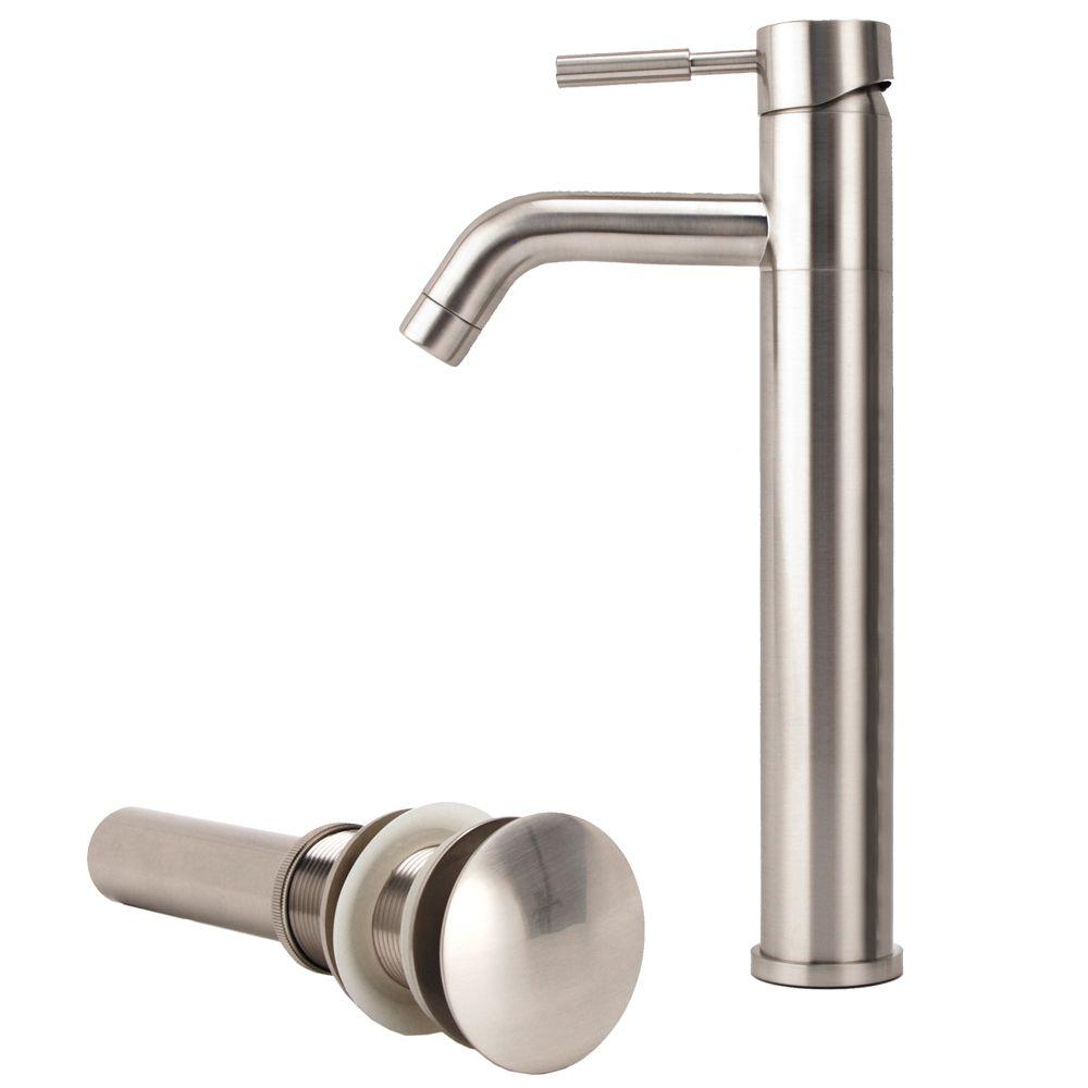 New European 1-Hole 1-Handle Low-Arc Bathroom Vessel Faucet with Drain Assembly