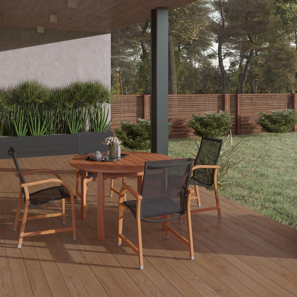 Bahamas Eucalyptus Wood 5-Piece Round Patio Dining Set