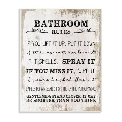 "10 in. x 15 in. ""Bathroom Rules Wood"" by Daphne Polselli Wood Wall Art"