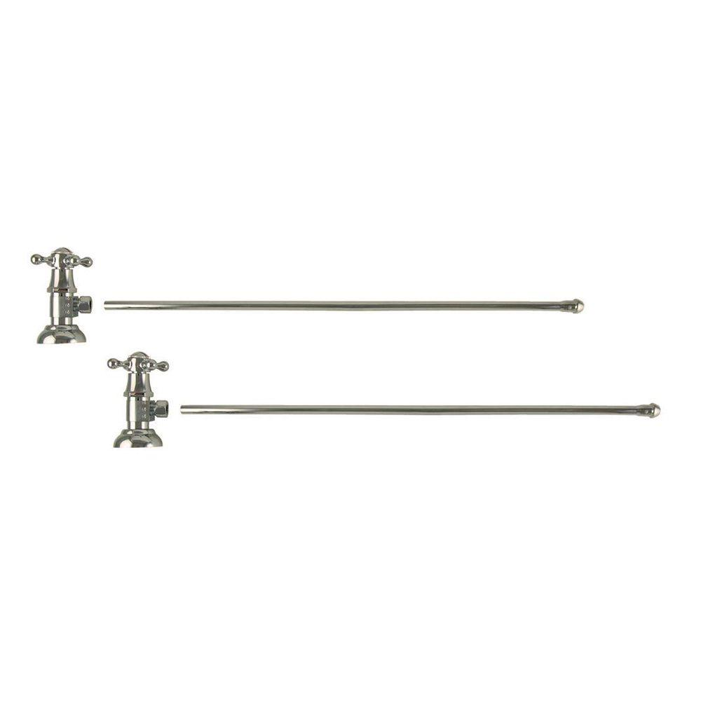 3/8 in. O.D x 20 in. Brass Rigid Lavatory Supply Lines with Cross Handle Shutoff Valves in Polished Nickel Barclay provides all your essential bathroom needs. Enjoy the convenience of accessible water shut-off with these decorative lavatory supplies. Choose from 5 designer finishes. Color: Polished Nickel.
