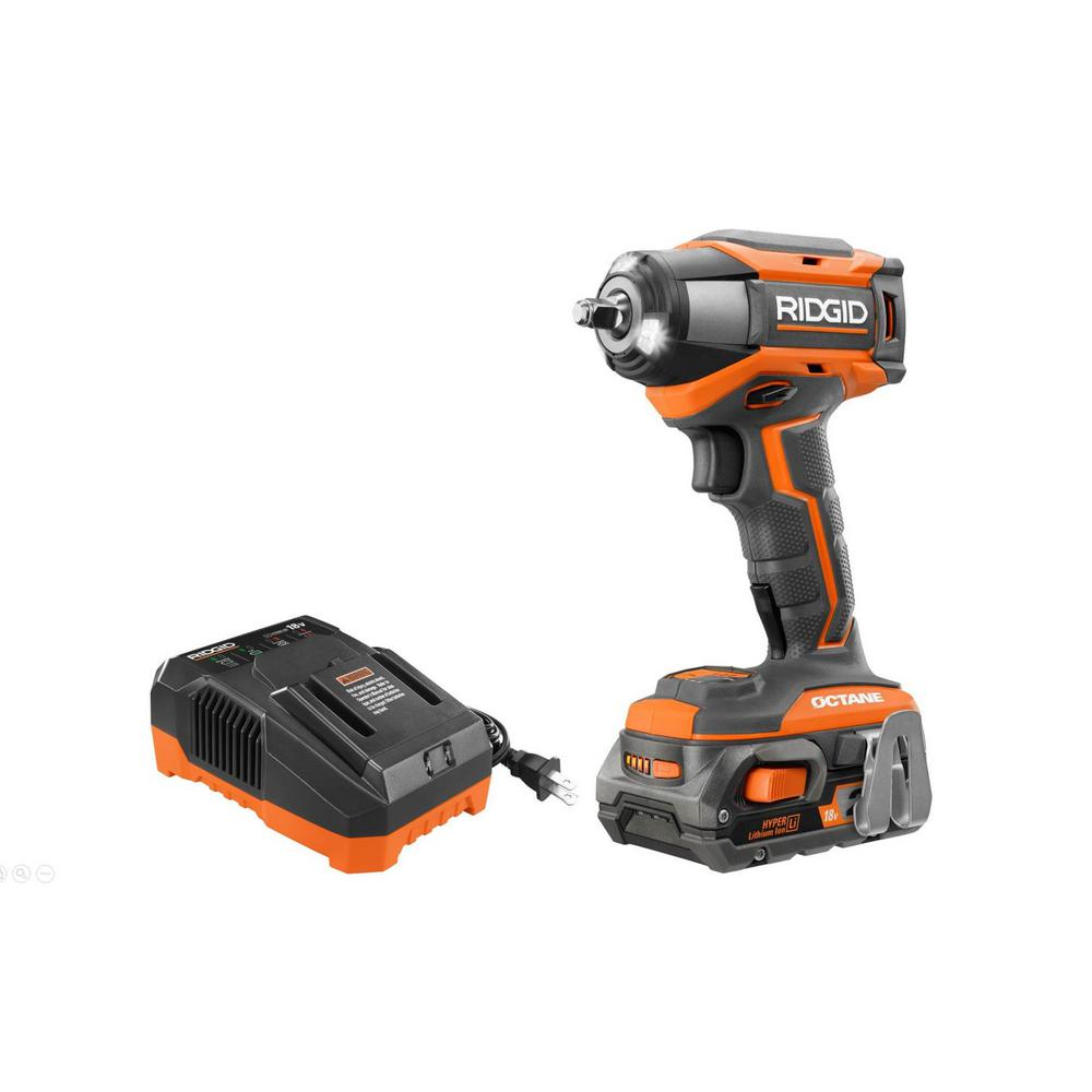 RIDGID 18-Volt OCTANE Cordless Brushless 3/8 in. 6-Mode Impact Wrench Kit with 2.0 Ah Battery and 18-Volt Charger