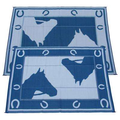 Blue Horseshoe Blue And White 9 Ft. X 12 Ft. Polypropylene Indoor/Outdoor