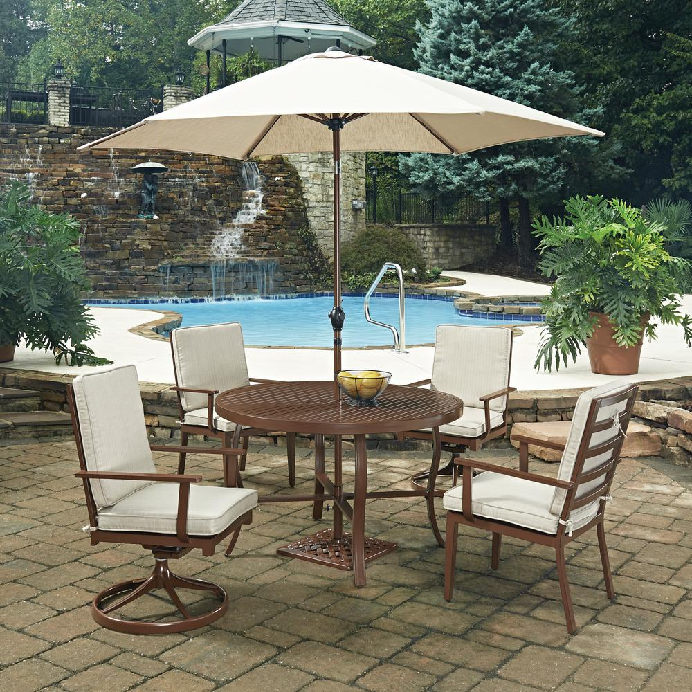 Key West Chocolate Brown 7-Piece Extruded Aluminum Outdoor Dining Set with