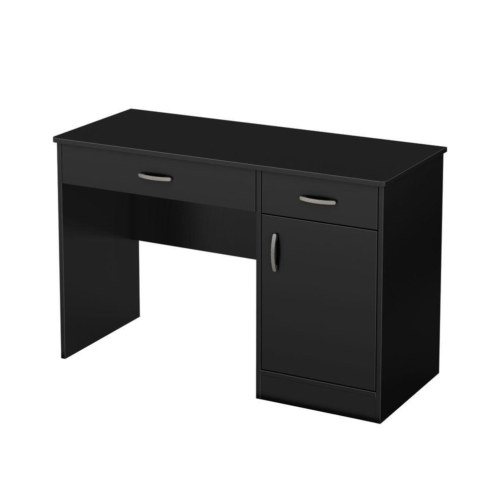 43.75 in. Pure Black Rectangular 2 -Drawer Computer Desk with Adjustable Shelves