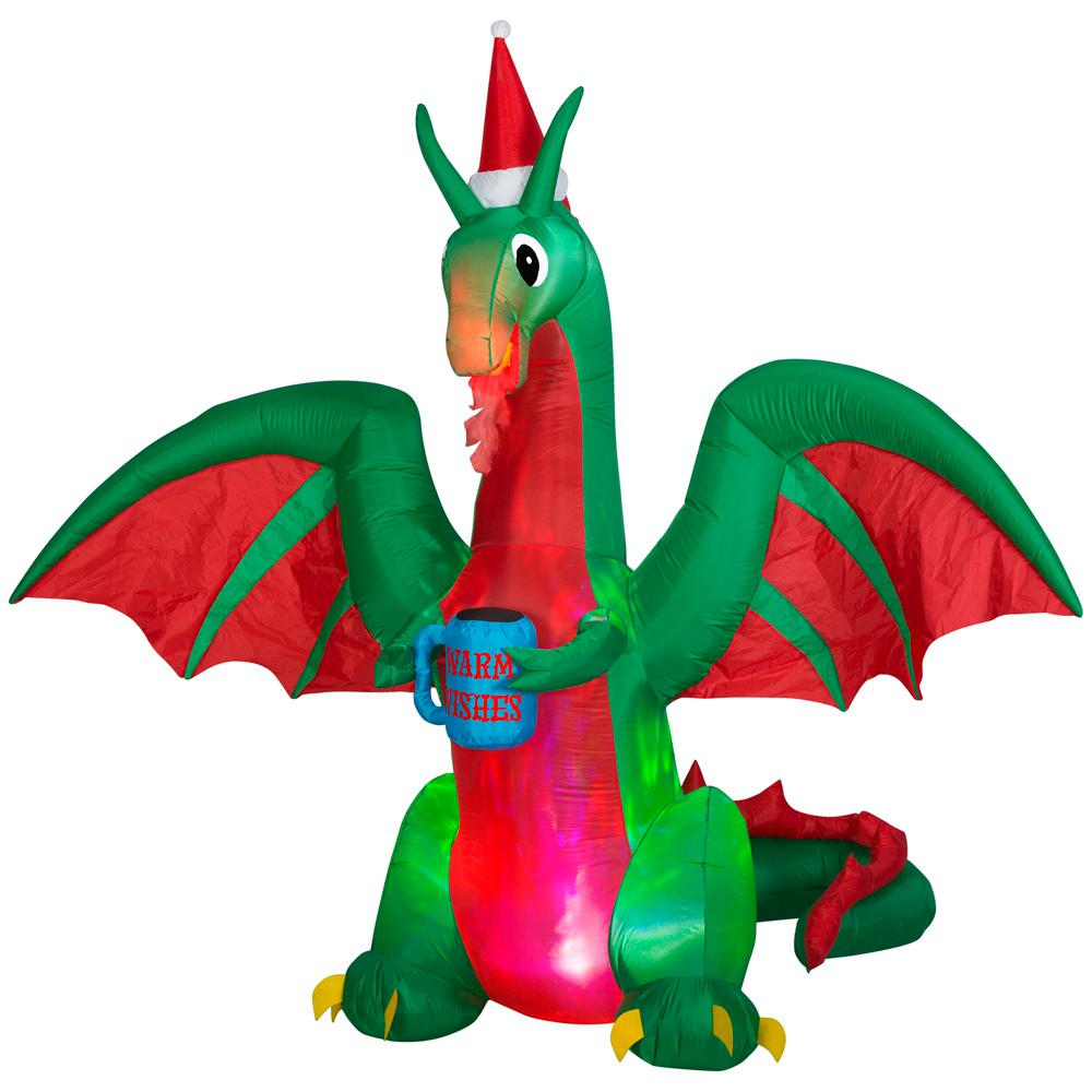 HomeAccentsHoliday Home Accents Holiday 7 ft. Pre-Lit Life Size Airblown Inflatable Christmas Dragon with Multicolor Projection