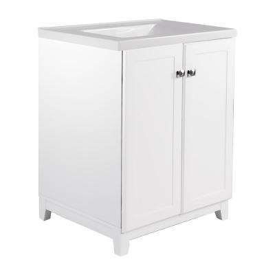 24 in. x 21 in. x 33 in. 2-Door Bath Vanity in White with 4 in. Centerset Solid White CM Contempo Vanity Top with Basin