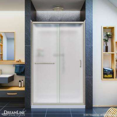 Infinity-Z 36 in. x 48 in. Semi-Frameless Sliding Shower Door in Brushed Nickel with Center Drain Base and BackWalls