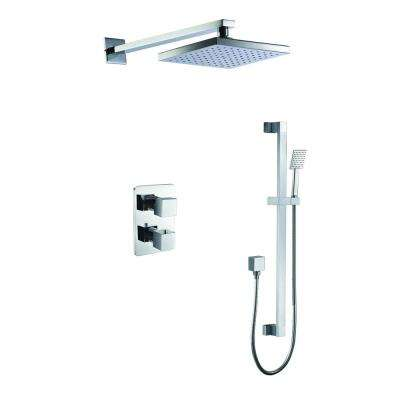 1-Spray Dual Showerhead and Handheld Showerhead with Temperature Control in Polished Chrome