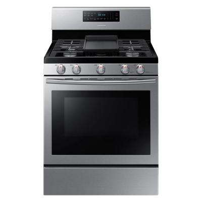 30 in. 5.8 cu. ft. Gas Range with Self-Cleaning and Fan Convection Oven in Stainless Steel