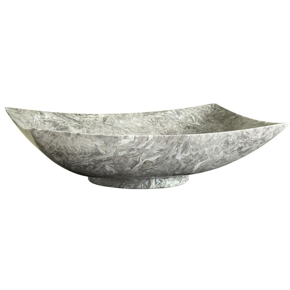 RYVYR Stone 20 in. Rectangular Vessel Sink in Overlord Gray with Natural Variations