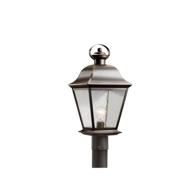 Mount Vernon 1-Light Olde Bronze Outdoor Post Light with Clear Seeded Glass