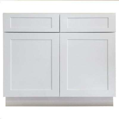 Shaker Ready to Assemble 36x34.5x24 in. Base Cabinet with 2-Door and 2-Drawer in White