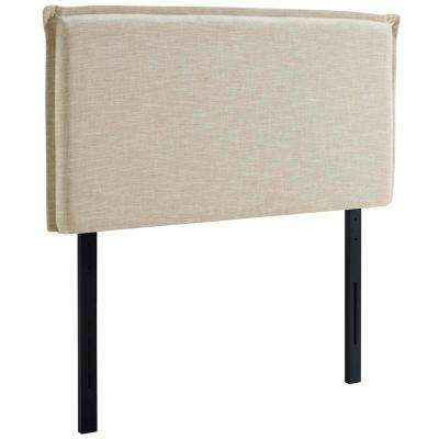 Camille Twin Upholstered Fabric Headboard in Beige
