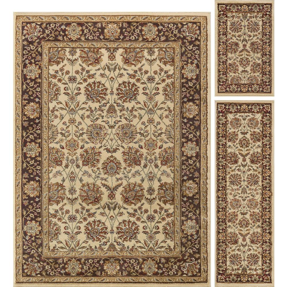 Tayse Rugs Elegance Beige 5 Ft X 7 3 Piece Rug Set