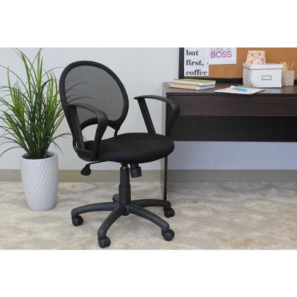 Black Mesh Chair with Loop Arms