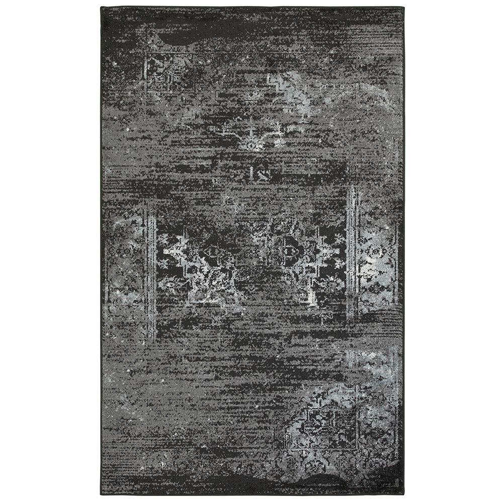 Matrix Jet Black/Titanium Rectangle 7 ft. 9 in. x 9 ft. 5 in. Indoor Area Rug