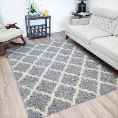 Ultimate Shag Contemporary Moroccan Trellis Design Grey 5 ft. x 7 ft. Area Rug