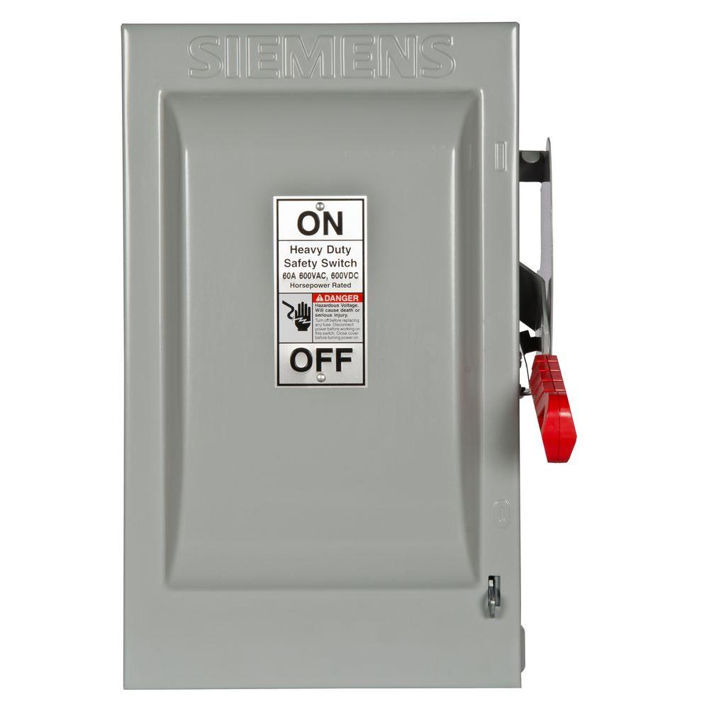 Siemens Heavy Duty 60 Amp 600-Volt 2-Pole Indoor Non-Fusible Safety ...