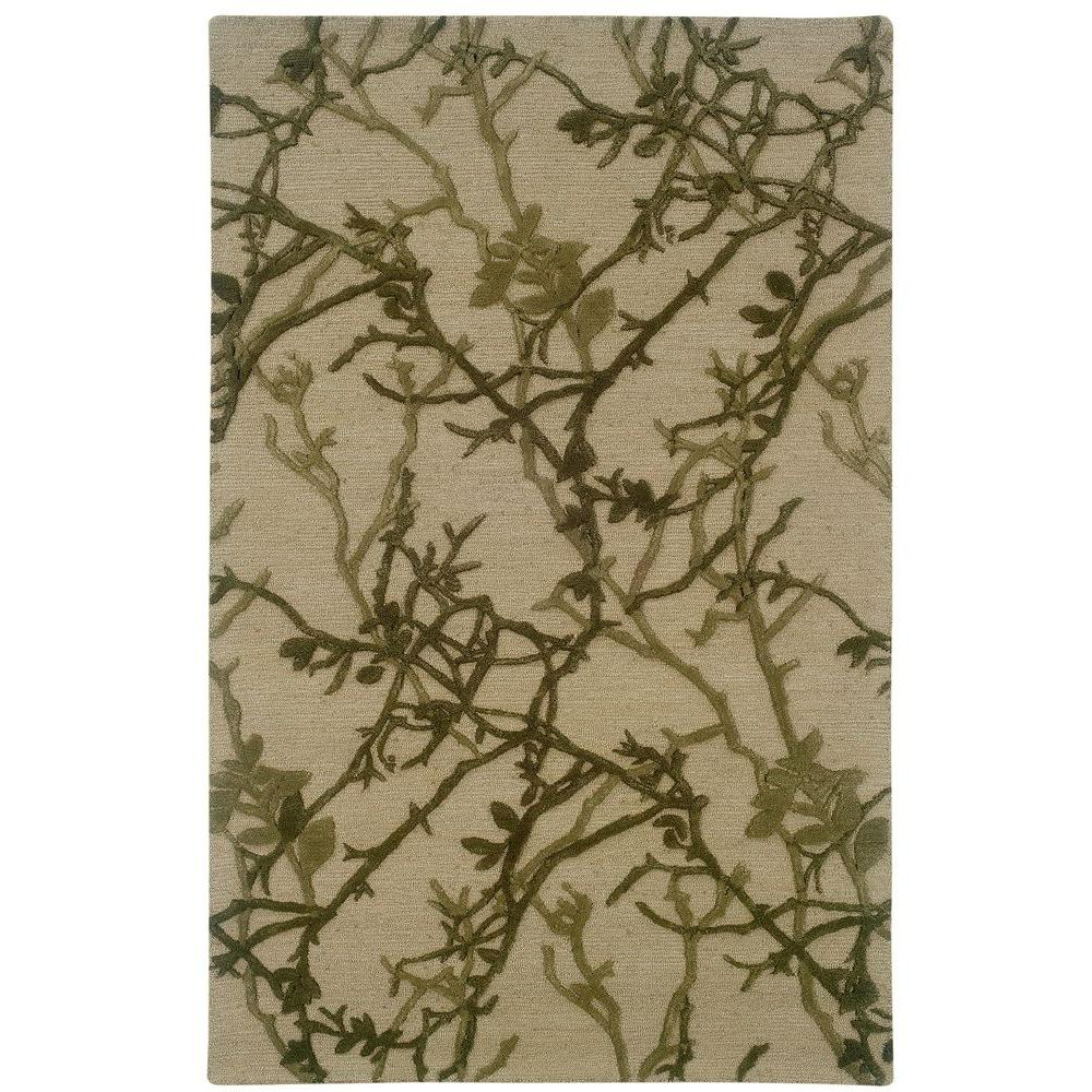 Linon Home Decor Ashton Collection Beige and Olive 5 ft. x 8 ft. Indoor Area Rug