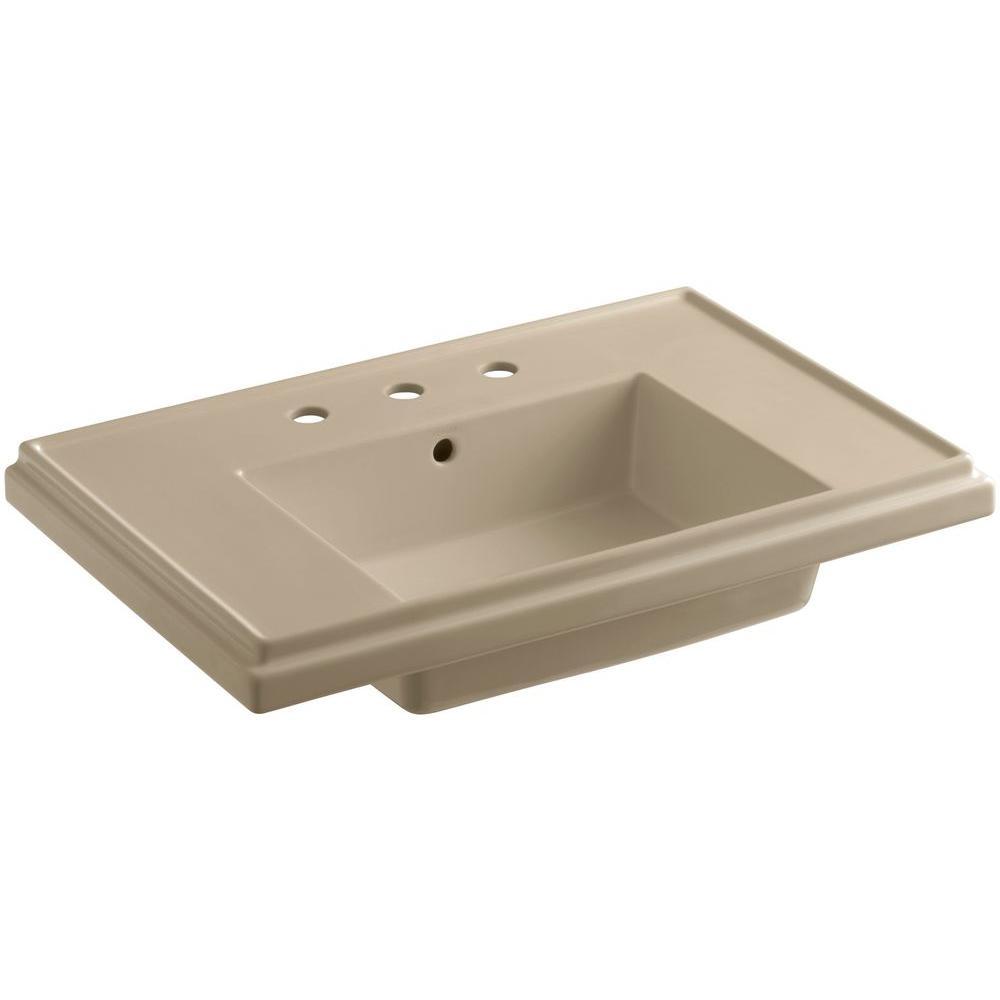 Tresham 30 in. Pedestal Sink Basin in Mexican Sand