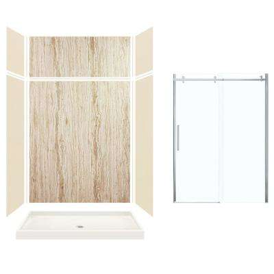 Expressions 32 in. x 60 in. x 96 in. Center Drain Alcove Shower Kit with Extension Door in Bisque/Sorento and Chrome