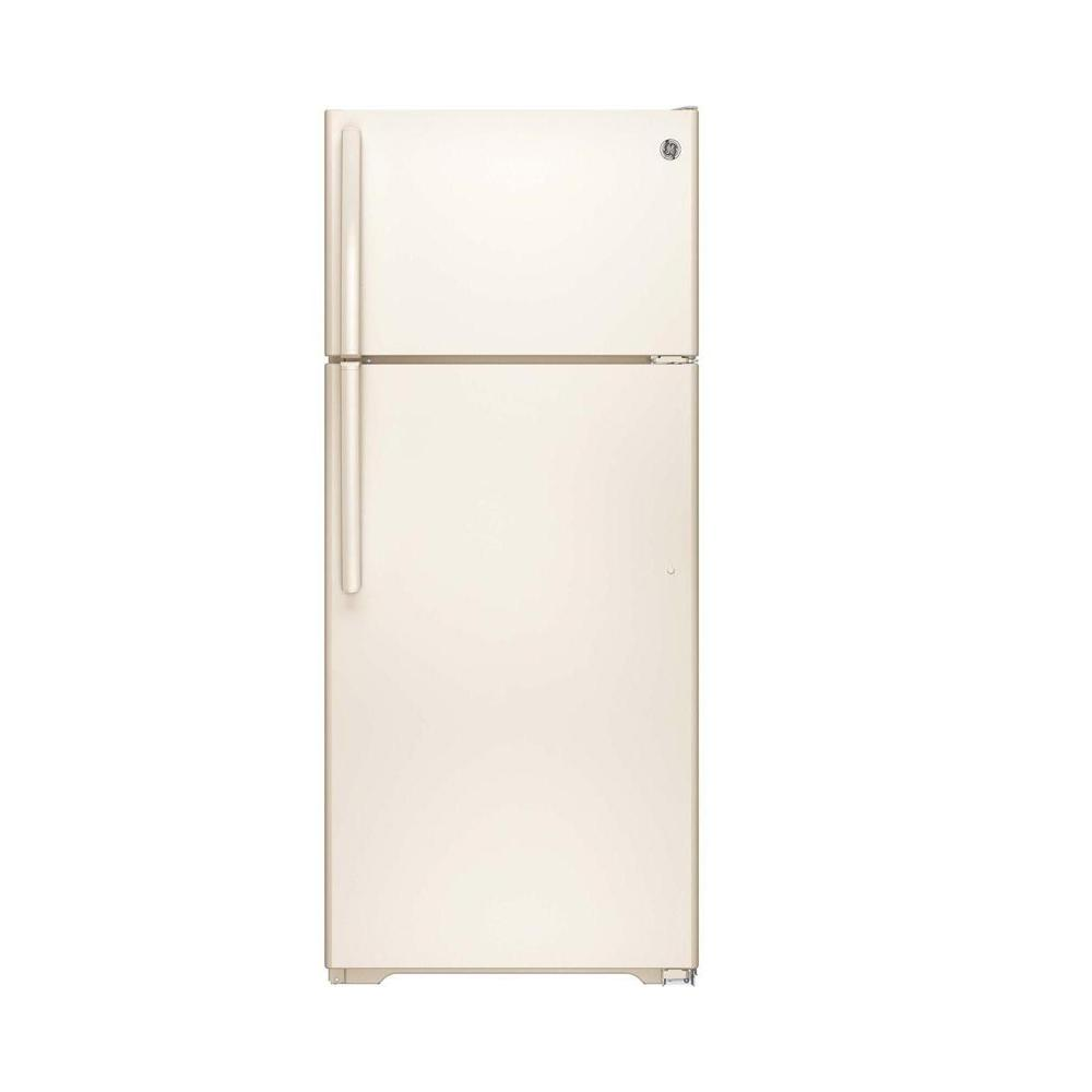 Ge 175 Cu Ft Top Freezer Refrigerator In Bisque Gte18cthcc The