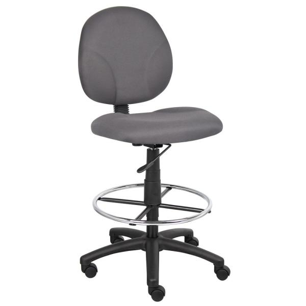 Boss Gray Fabric Drafting Stools with Foot Ring B1690-GY