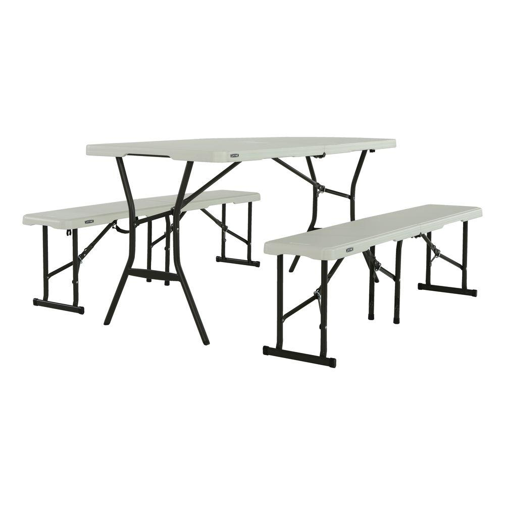 Lifetime 3-Piece Pearl Fold-in-Half Folding Picnic Table Bench Set