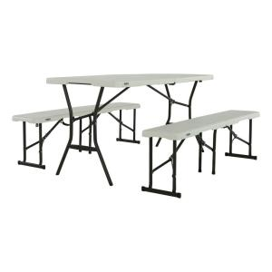 foldinhalf picnic table with benches